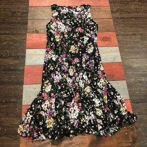 🎉3/$35 Chaps 14 Black Floral Sundress